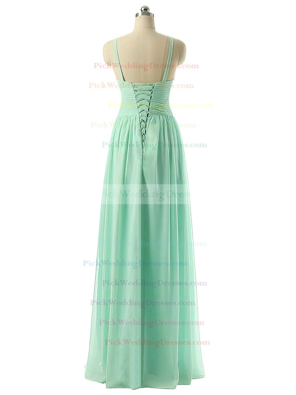 A-line Ruched Lace-up V-neck Chiffon Bridesmaid Dresses #PWD01012729