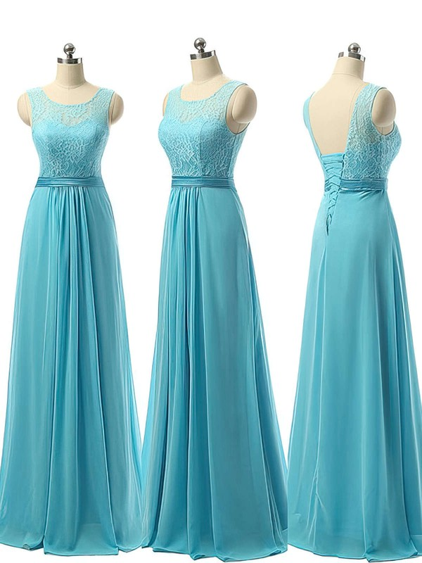 Scoop Neck Chiffon Lace-up Sashes / Ribbons A-line Bridesmaid Dress #PWD01012730