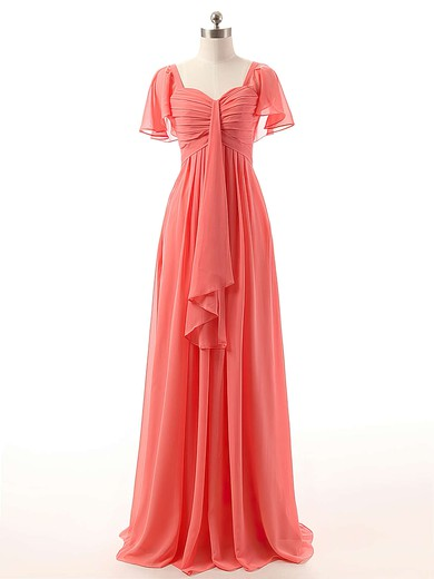 Watermelon Chiffon Floor-length Ruffles Short Sleeve Sweetheart Bridesmaid Dress #PWD01012732