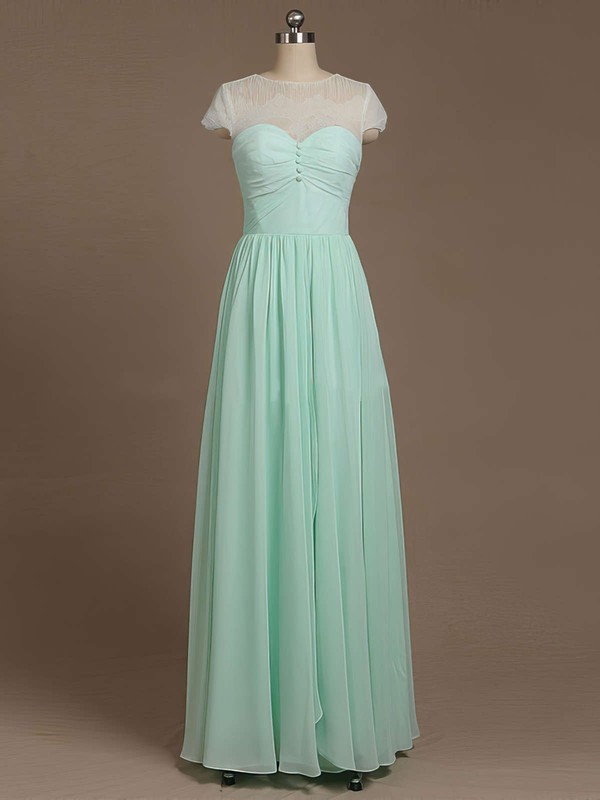Wholesale A-line Chiffon Short Sleeve Lace Scoop Neck Bridesmaid Dress #PWD01012733