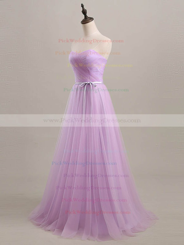 Sweetheart Sashes / Ribbons Lace-up A-line Sage Tulle Bridesmaid Dresses #PWD01012734