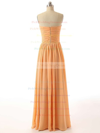 Discount Sweetheart Orange Chiffon Ruched A-line Bridesmaid Dresses #PWD01012736