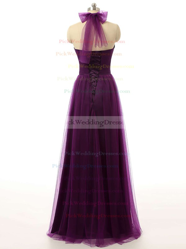 Halter Lace-up Ruffles Purple Tulle A-line Bridesmaid Dress #PWD01012737
