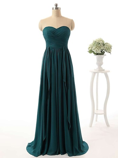Stunning Sweep Train Ruffles Chiffon Sweetheart Bridesmaid Dress #PWD01012738