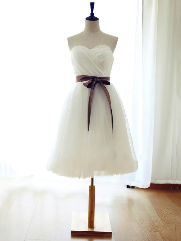 Pretty Sweetheart Sashes / Ribbons White Tulle Knee-length Bridesmaid Dress #PWD01012739