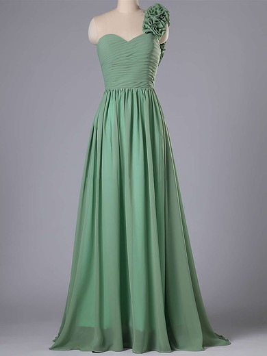 One Shoulder Flower(s) Lace-up Sweep Train Chiffon Cute Bridesmaid Dress #PWD01012740