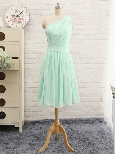 Knee-length Ruffles One Shoulder Chiffon Wholesale Bridesmaid Dress #PWD01012741