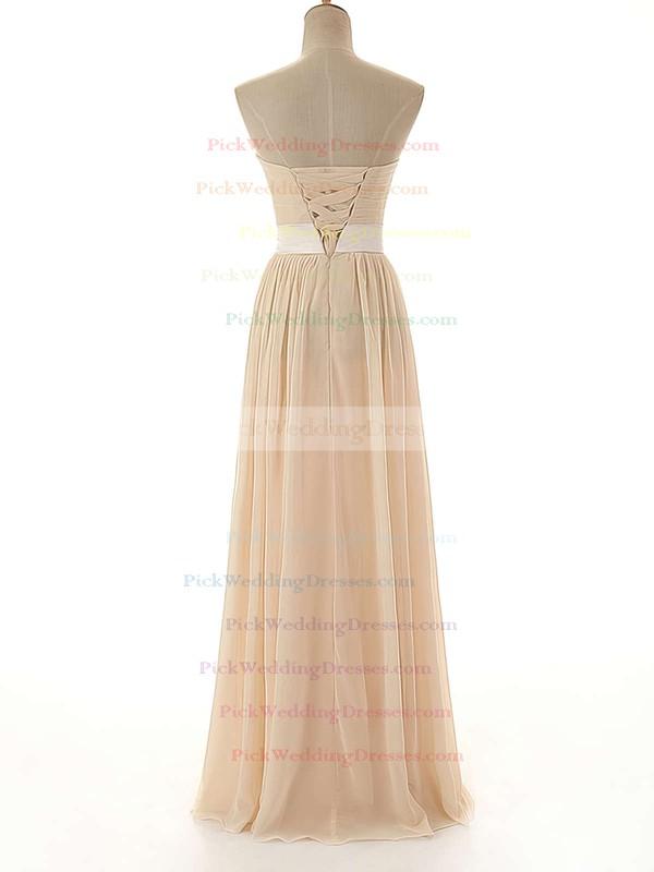 Sweetheart Lace-up Sashes / Ribbons Chiffon Floor-length Bridesmaid Dress #PWD01012742