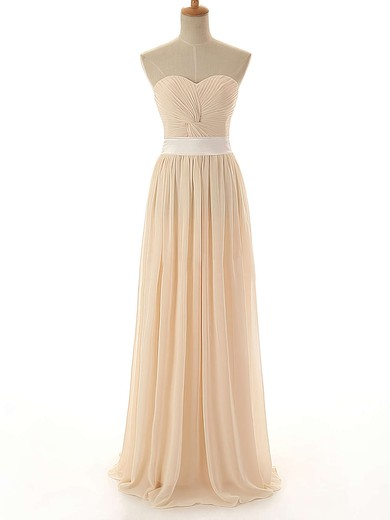 Sweetheart Lace-up Sashes / Ribbons Chiffon Floor-length Bridesmaid Dress #PWD01012742