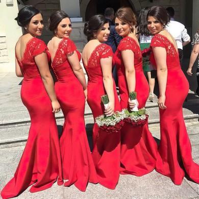 Red Silk-like Satin Appliques Lace Designer V-neck Trumpet/Mermaid Bridesmaid Dresses #PWD01012744