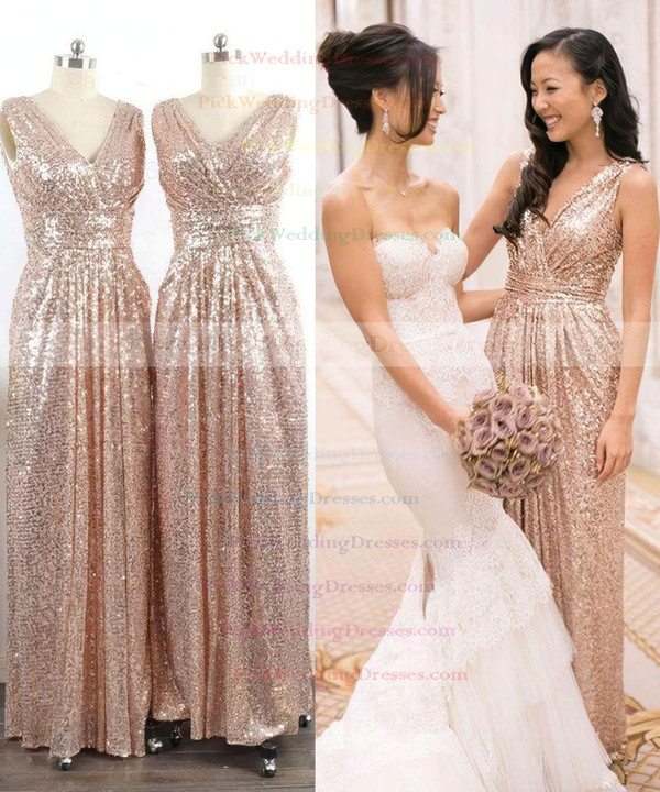 V-neck Sequined with Ruffles Sheath/Column Unique Bridesmaid Dresses #PWD01012745