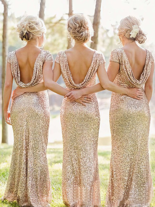 Online Backless Sheath/Column Sequined Scoop Neck Short Sleeve Bridesmaid Dresses #PWD01012746
