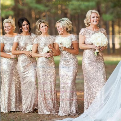 Online Backless Sheath Column Sequined Scoop Neck Short Sleeve Bridesmaid Dresses Pwd01012746