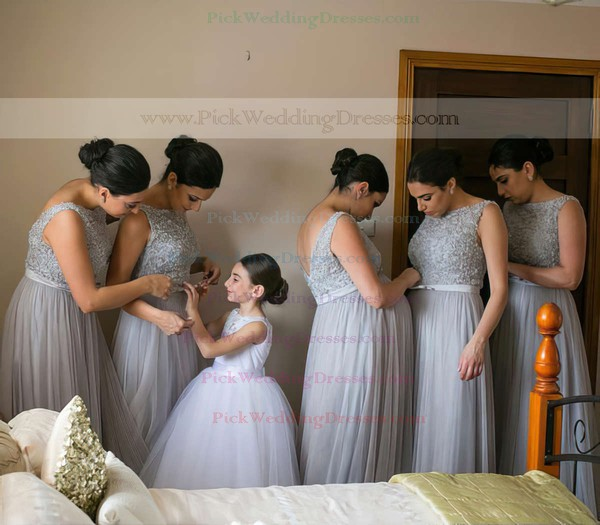 Scoop Neck Tulle with Sashes / Ribbons Floor-length Best Bridesmaid Dresses #PWD01012747