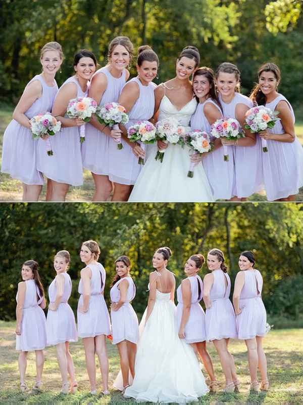 Discount Scoop Neck Chiffon Sashes / Ribbons Short/Mini Bridesmaid Dresses #PWD01012751
