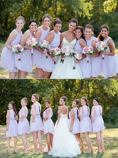 Discount Scoop Neck Chiffon Sashes / Ribbons Short/Mini Bridesmaid Dresses #PWD01012751