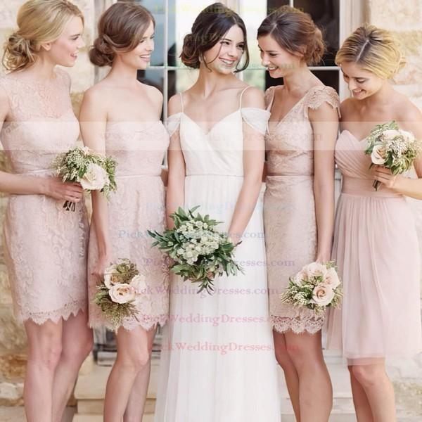 Sheath/Column Online V-neck Lace Sashes / Ribbons Short/Mini Bridesmaid Dresses #PWD01012752