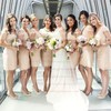 Sheath/Column Online V-neck Lace Sashes / Ribbons Short/Mini Bridesmaid Dresses #PWD01012752