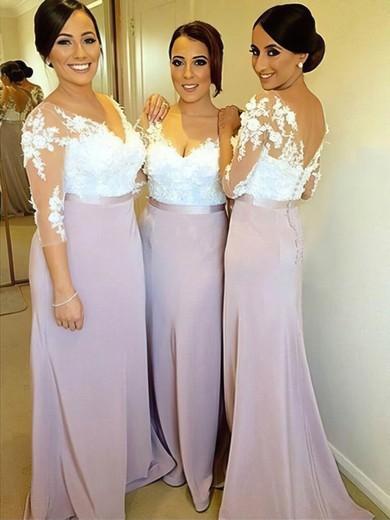 3/4 Sleeve Tulle Silk-like Satin Appliques Lace Sheath/Column V-neck Unique Bridesmaid Dresses #PWD01012753