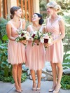 Junior Pink Ruffles Chiffon V-neck Knee-length Bridesmaid Dresses #PWD01012754