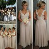 Womens Chiffon V-neck Appliques Lace Floor-length Long Bridesmaid Dresses #PWD01012755