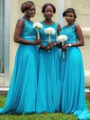 Blue Chiffon Scoop Neck Sweep Train Appliques Lace Beautiful Bridesmaid Dresses #PWD01012759