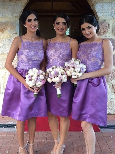 Knee-length Elastic Woven Satin Square Neckline Appliques Lace Vintage Bridesmaid Dresses #PWD01012761