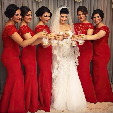 Short Sleeve Silk-like Satin with Lace Scoop Neck Stunning Trumpet/Mermaid Bridesmaid Dresses #PWD01012763