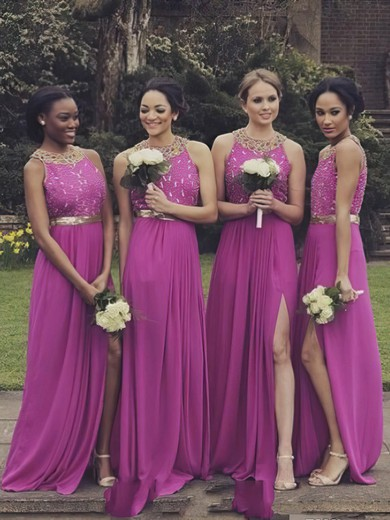 Wholesale Open Back Chiffon A-line Scoop Neck Split Front Bridesmaid Dresses #PWD01012764