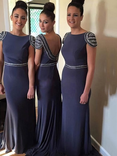 Sweep Train Backless Chiffon Beading Ballotion Sheath/Column Bridesmaid Dresses #PWD01012765