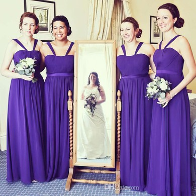 Floor-length A-line Chiffon with Sashes / Ribbons Pretty Bridesmaid Dresses #PWD01012766