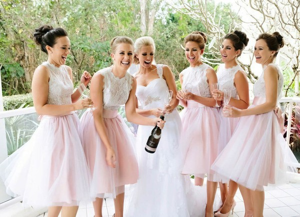 New Scalloped Neck Tulle with Lace Knee-length Bridesmaid Dresses #PWD01012767