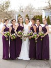 Cowl Neck Chiffon with Lace Inexpensive Sheath/Column Ankle-length Bridesmaid Dresses #PWD01012768