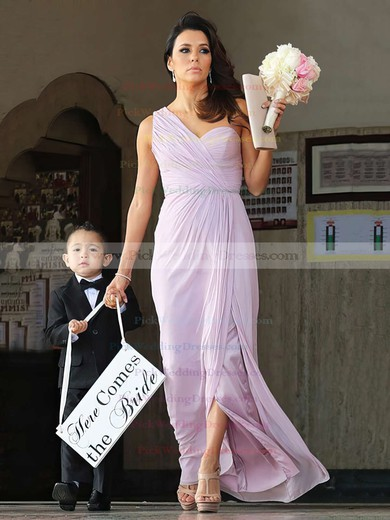 Split Front Ankle-length Chiffon Perfect One Shoulder Bridesmaid Dress #PWD01012769