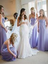 Affordable Floor-length Sweetheart Ruffles Chiffon Long Bridesmaid Dress #PWD01012770
