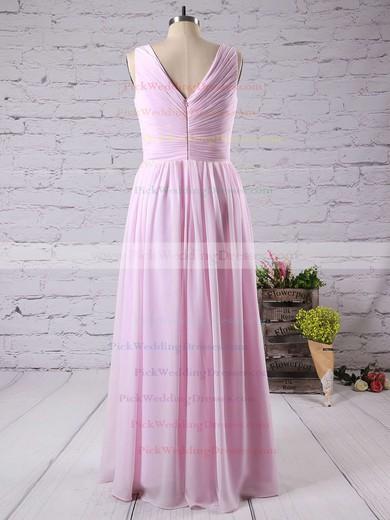 Pink V-neck Ruffles Chiffon Floor-length Discounted Bridesmaid Dress #PWD01012771
