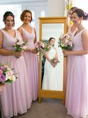 Pink V-neck Ruffles Chiffon Floor-length Discounted Bridesmaid Dress #PWD01012771