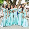 Fashion Silk-like Satin Trumpet/Mermaid Sashes / Ribbons Off-the-shoulder Bridesmaid Dress #PWD01012772