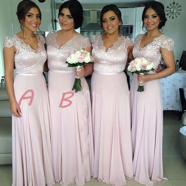 V-neck Chiffon with Lace Floor-length Cap Straps Amazing Bridesmaid Dress #PWD01012774