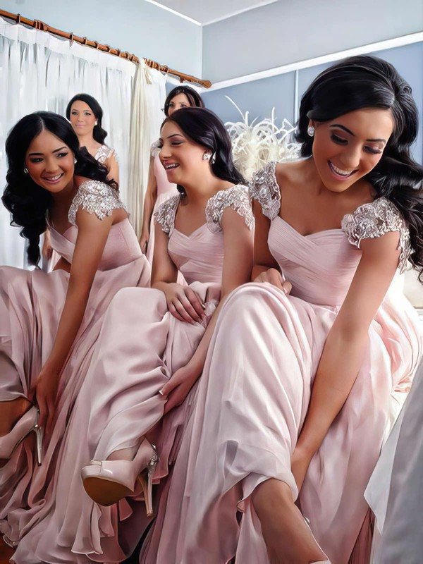 V-neck Chiffon Floor-length Appliques Lace Different Pink Bridesmaid Dress #PWD01012776