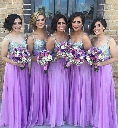 Modest Chiffon with Beading V-neck Floor-length Long Bridesmaid Dress #PWD01012777