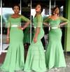 1/2 Sleeve V-neck Tulle Silk-like Satin Sashes / Ribbons Trumpet/Mermaid Bridesmaid Dress #PWD01012779