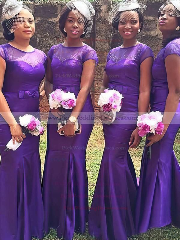 Short Sleeve Trumpet/Mermaid Grape Tulle Elastic Woven Satin Beading Popular Bridesmaid Dress #PWD01012780