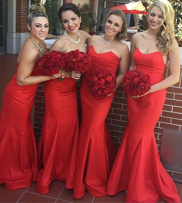 Classic Red Ruffles Silk-like Satin Sweetheart Trumpet/Mermaid Bridesmaid Dress #PWD01012781