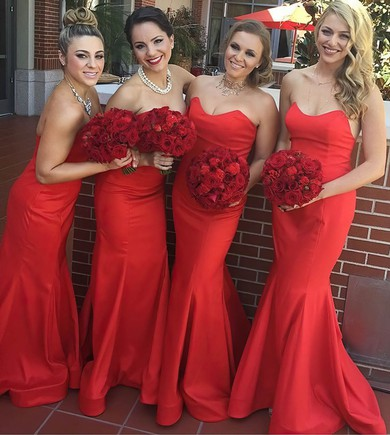 Classic Red Ruffles Silk-like Satin Sweetheart Trumpet/Mermaid Bridesmaid Dress #PWD01012781