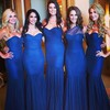 Royal Blue Sweetheart Ruffles Tulle Popular Trumpet/Mermaid Bridesmaid Dress #PWD01012782