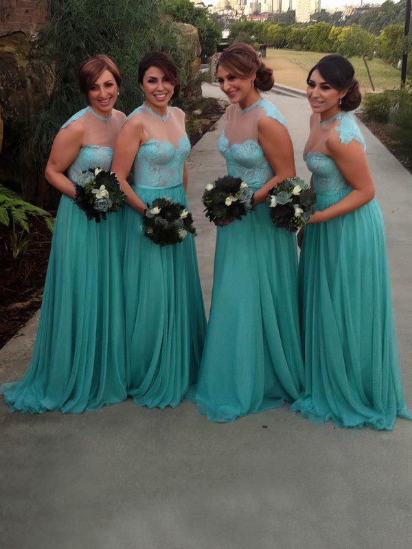 Sweep Train Chiffon Tulle Appliques Lace Scoop Neck Nice Bridesmaid Dress #PWD01012783