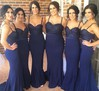 Hot Dark Navy Sweep Train Chiffon Beading Trumpet/Mermaid Bridesmaid Dress #PWD01012784