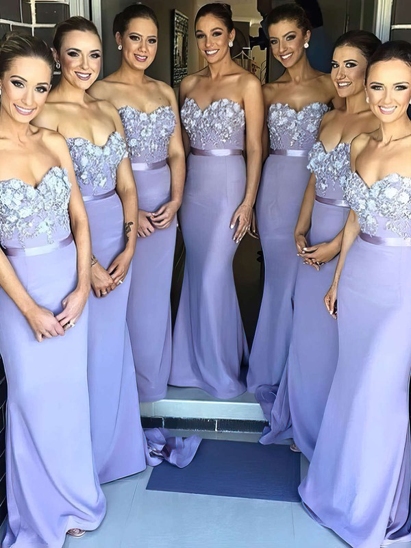 Sheath/Column Silk-like Satin Sweetheart Appliques Lace Glamorous Bridesmaid Dress #PWD01012786