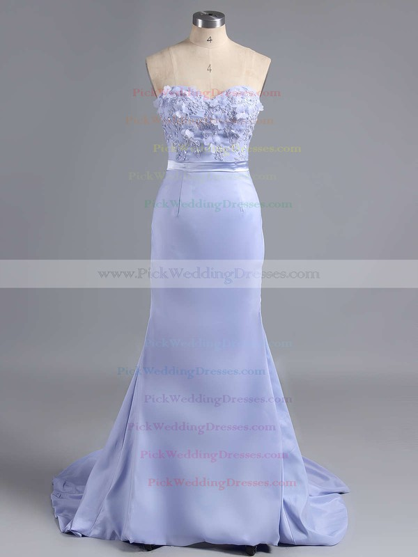 Sheath/Column Silk-like Satin Sweetheart Appliques Lace Glamorous Bridesmaid Dress #PWD01012786